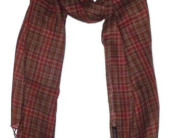 Pure Wool Red Brown Green Check Scarf