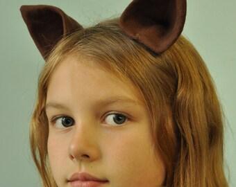 Small Flannel Animal Ear Barrettes