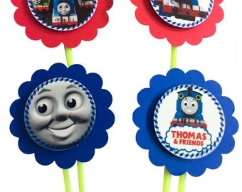 Thomas the Train blue and red cupcake toppers - Set of 12