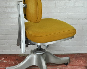 Antique Industrial Cushioned Office Chair With Aluminium Cast Base -- Shipping varies by destination, please convo us for a shipping quote.