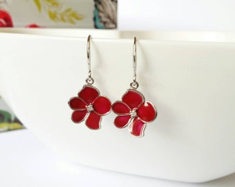 Red flower earrings, silver and red earrings, red dangle earrings, cute earrings, flower dangle earrings, silver earrings, sakura earring