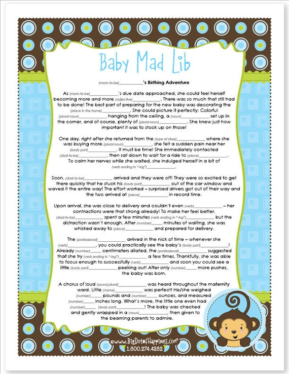 mad lib blue monkey boy baby shower game instant download