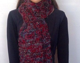 Chunky Knit Scarves. Long Woollen Scarf With Tassles.