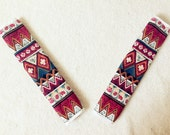 1 pair of Car Automotive Seat Belt Cover - Red zigzag Aztec Chevron Cross Pattern, unique car accessories decors