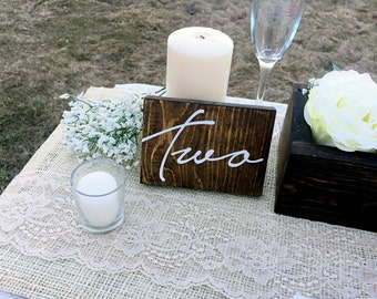 Wedding Double Sided Table Numbers, Cursive Wooden Table Numbers, Rustic Table numbers, Wood Table Numbers   - Charlotte Collection