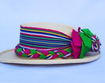 "Vintage Handcrafted ""La Giralda"" Ladies Palm leaves Rolled Brim Hat By Maya-Quiche Indians.  Made in Guatemala. Size 56. Medium."