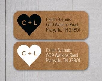 Kraft RSVP Address Labels, Kraft Wedding Stickers, Return address stickers for invitations (#307)