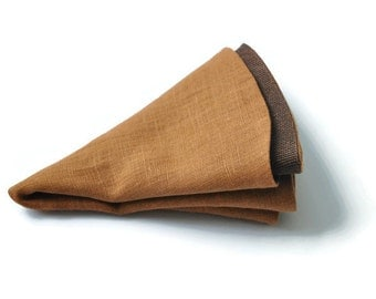 Brown Pocket Round. Linen Pocket Round. Double Sided Handkerchief Copper Hanky