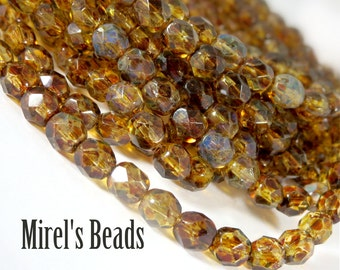 6mm Crystal Picasso Czech Glass Beads, Faceted Fire Polished