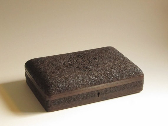 Antique Anglo Indian Carved Wooden Box Business Card Case