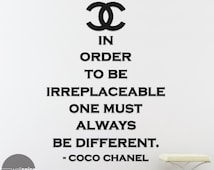 Coco Chanel Irreplaceable Be Different Quote Vinyl Wall Decal Sticker