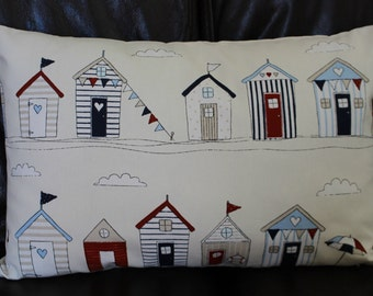 Handmade Nautical Seaside Cushion Cover Beach Hut Navy Blue Red Maritime