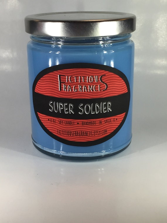 Super Soldier -- Avengers Inspired 8 oz Scented Soy Candle