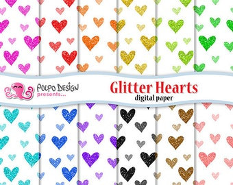 Glitter Hearts digital paper Pack. Seamless pattern glitters romance sparkle sparkles valentine. Commercial & personal Use. Instant Download