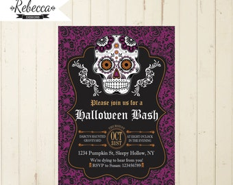 halloween invitation printable halloween invite dia de los muertos invitation halloween party halloween bash sugar skull day of the dead 133