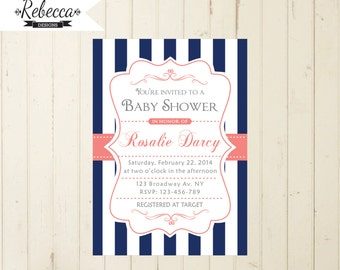 navy and coral baby shower navy coral baby shower invitation brunch baby shower tea baby shower coral navy invite baby shower printable 101