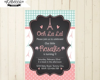 Paris birthday invitation 1st birthday girl invitation printable oh la la cottage chic invitation 2nd 3rd 4th 5th 6th Eiffel pink invite