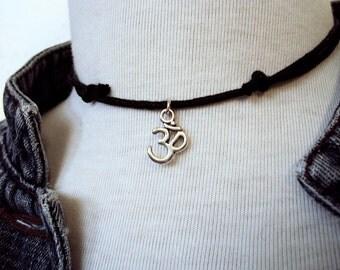 Om Choker ~ Om Necklace ~ Black Choker ~ Adjustable Necklace ~ Choker Necklace ~ 90s Grunge  ~ Namaste Choker Necklace