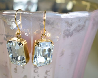 Swarovski Crystal Octagon Earrings - Gold Plated