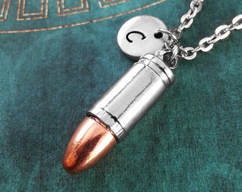 Copper Tip Bullet Necklace, Personalized Necklace, Bullet Pendant, Bullet Necklace, Bullet Charm Necklace, Silver Bullet Jewelry, Gun Gift