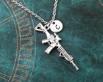 Rifle Necklace Gun Necklace Silver Pendant Necklace Machine Gun Charm Necklace Gun Jewelry Gun Gift Monogram Necklace Bridesmaid Necklace