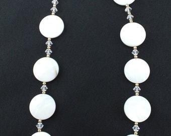 Swarovski Crystal and Faceted Mother of Pearl Necklace