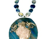 Goddess Blue agate and crystal cluster austrian crystal statement necklace Vogue Couture Huge choker © 2012-2015