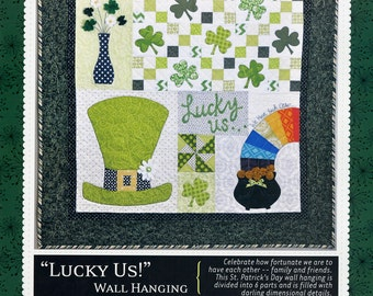 St Patricks Quilt Pattern, Kimberbell KD150 Lucky Us Wall Hanging Pattern, Shamrock Quilted Wall Hanging Pattern, St Patricks Day