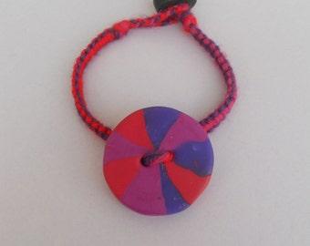 Birthday gift Teen Girls Big striped polymer clay button in acrylic yarn macrame bracelet,Playful bright funky girlie friendship jewelry