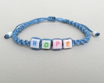 Personalized bracelet,Custom Name bracelet,Letter bracelet,Hope jewelry,Macrame,Beads bracelet,Colorful plastic,Adjustable,Inspiring quote
