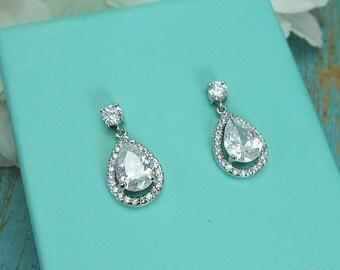 CZ earrings, round cubic zirconia CZ jewelry, wedding jewelry, bridal jewelry, wedding earrings, bridesmaid jewelry, earrings 209911177