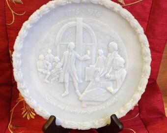 Fenton Bicentennial Commemorative Plate #1, Blue Satin Plate