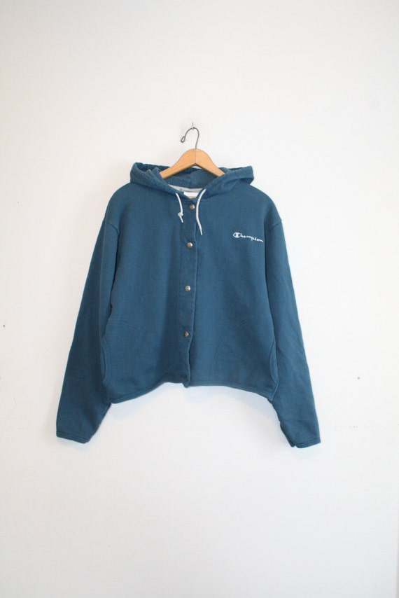 CHAMPION CROPPED HOODIE // size womens x large // 90s //