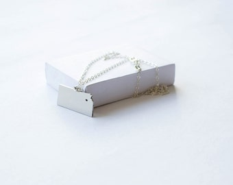 State Necklace! State of Kansas Necklace! Sterling silver chain