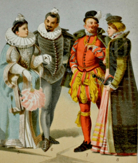 16th century clothes print. History engraving. 1901.Old book plate. 113 years color  lithograph.9'6 x6'2 inches.