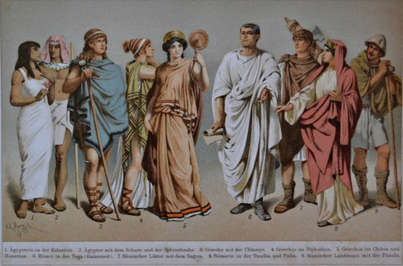 Antiquity clothes print. Egyptian, greek, roman.History engraving. 1901.Old book plate. 114 years color  lithograph.9'6 x6'2 inches.
