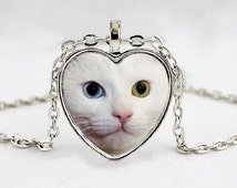 Odd Eyed White Cat Pendant Necklace - Cat with 2 Different Colored Eyes - Cat Necklace - Kitten Necklace - Cat Lover Gift