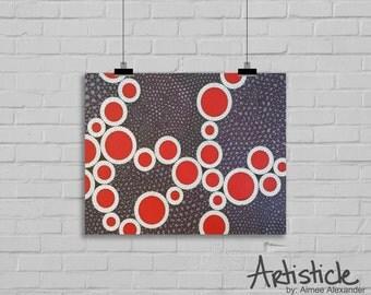 Geometric Art Print - Purple Red Art - Modern Home Decor - Abstract Art - Living Room Art - Contemporary Art - Small Art Print