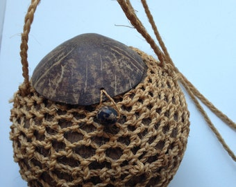 Coconut Purse Handbag with Natural Hand Woven Fish Net Cover