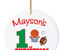Personalized Sports Christmas Ornament With Basketball