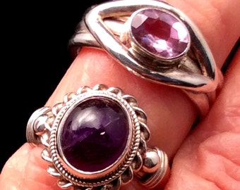 Size 7 or 7.25 Sterling Silver Ring. Purple Amethyst. free US ship