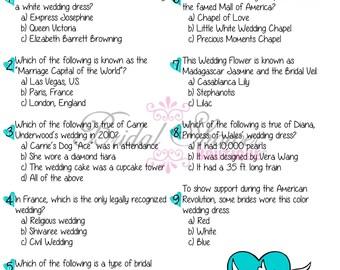 Bridal Wedding Trivia Bridal Shower Game TURQUOISE -Fun, Detailed, & Cute!