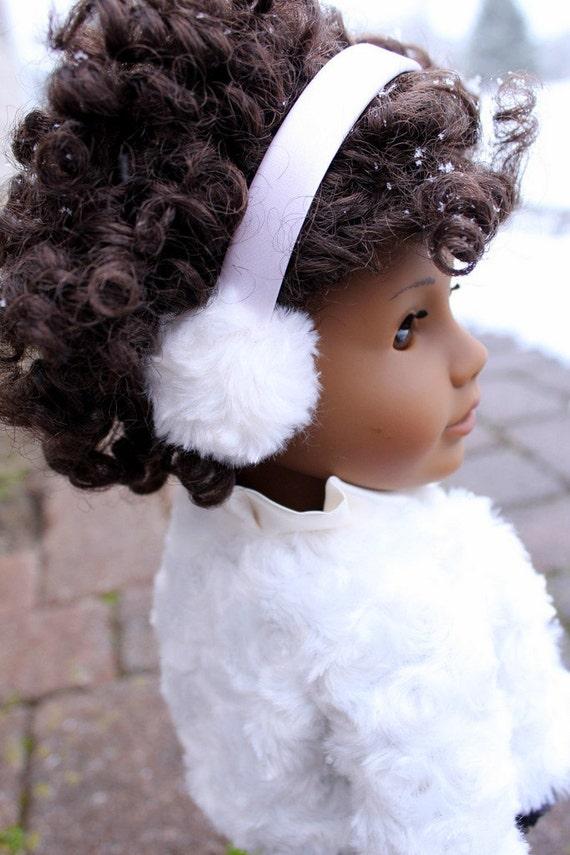 """Snowy Fur Earmuffs for American Girl or 18"""" Doll"""