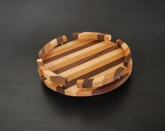 Handmade Lazy Susan with Rail  - Maple Cherry Walnut Striped Large Lazy Susan from Vermont - Wooden Wood Lazy Susan with Edge