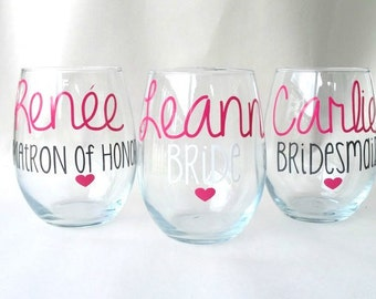 11 Personalized Bridesmaid Glasses - Bridesmaid Glass - Maid of Honor Glass - Bride Wine Glass- Bachelorette Party Glasses
