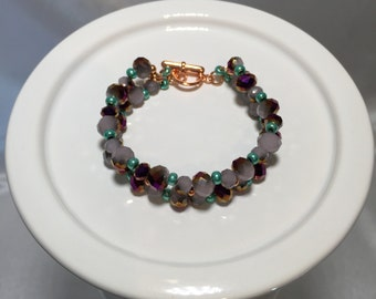 Faceted Glass and Copper Bracelet