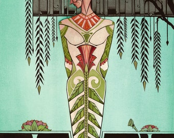 Art Deco woman on the Lake by Willow tree