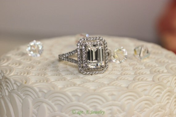 1.5 Ct. Emerald Cut VVS1 / G Simulated Diamond Engagement Ring + Free gift (