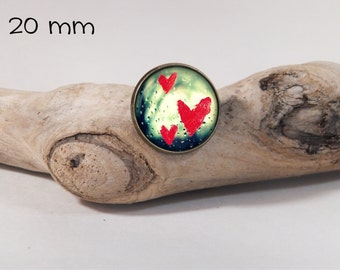 Little red hart pin 20 mm diam. Glass dome on pin