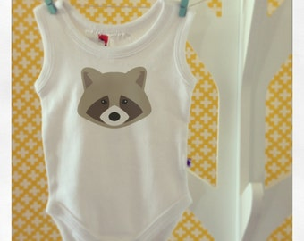 Sneaky Racoon Baby Romper - Sleeveless - Choose your size